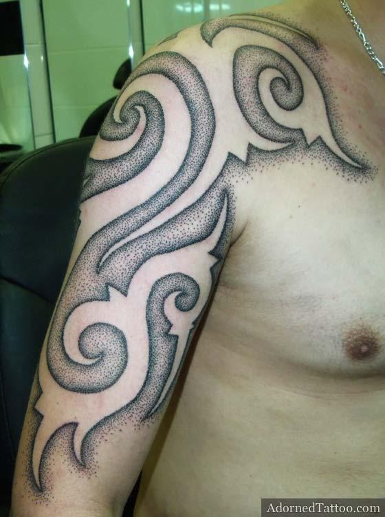 negative dotwork borneo tribal tattoo adorned tattoo. Black Bedroom Furniture Sets. Home Design Ideas