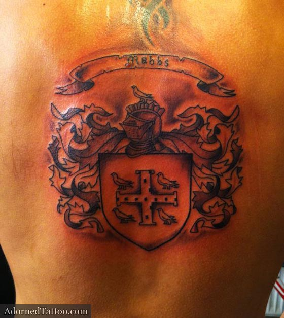 family crest back tattoo