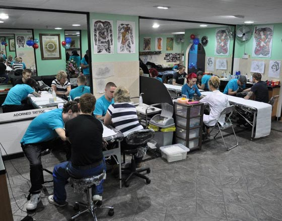 customers getting tattooed at the Help for Heroes tattooathon