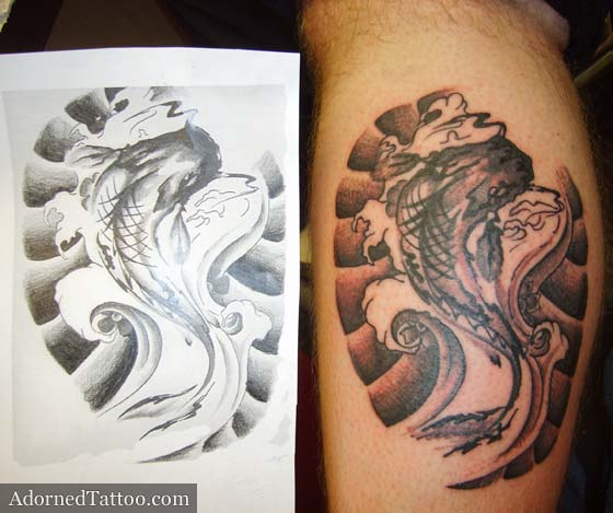 Koi carp calf tattoo. koi drawing and tattoo