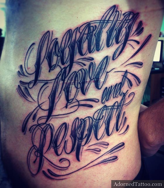 Quotation On Rib Cage Tattoo