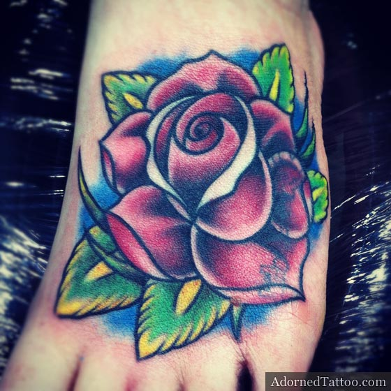 Traditional Rose Foot Tattoo