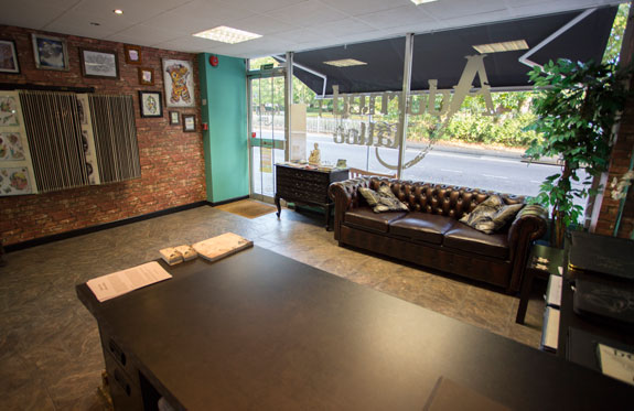 the tattoo studio waiting area