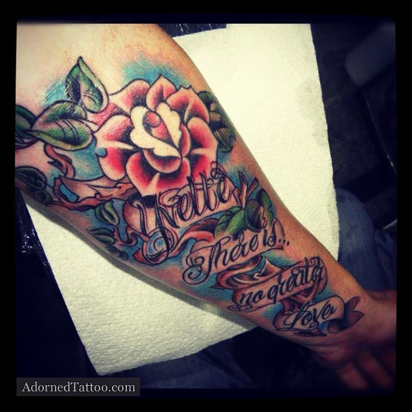 Neo-Tradition Rose and Song Verse Tattoo