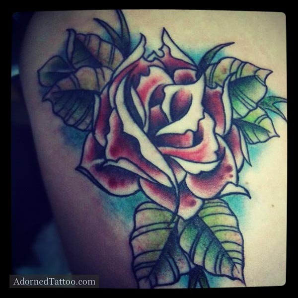 Neo-Traditional Red Rose Tattoo