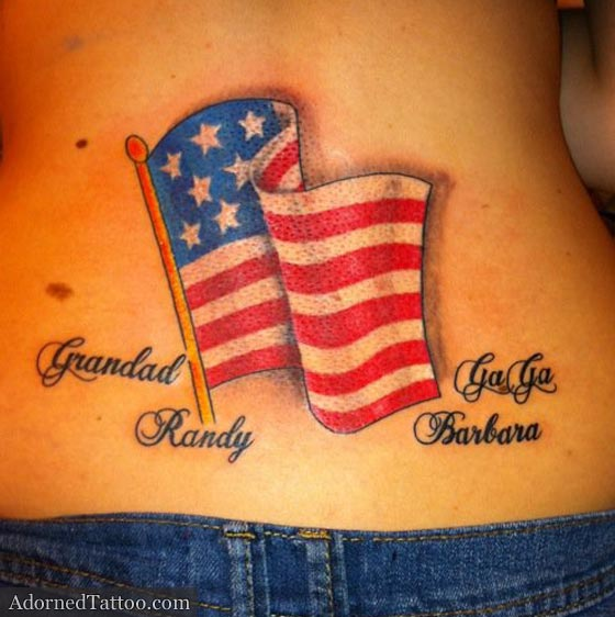 American flag lower back tattoo