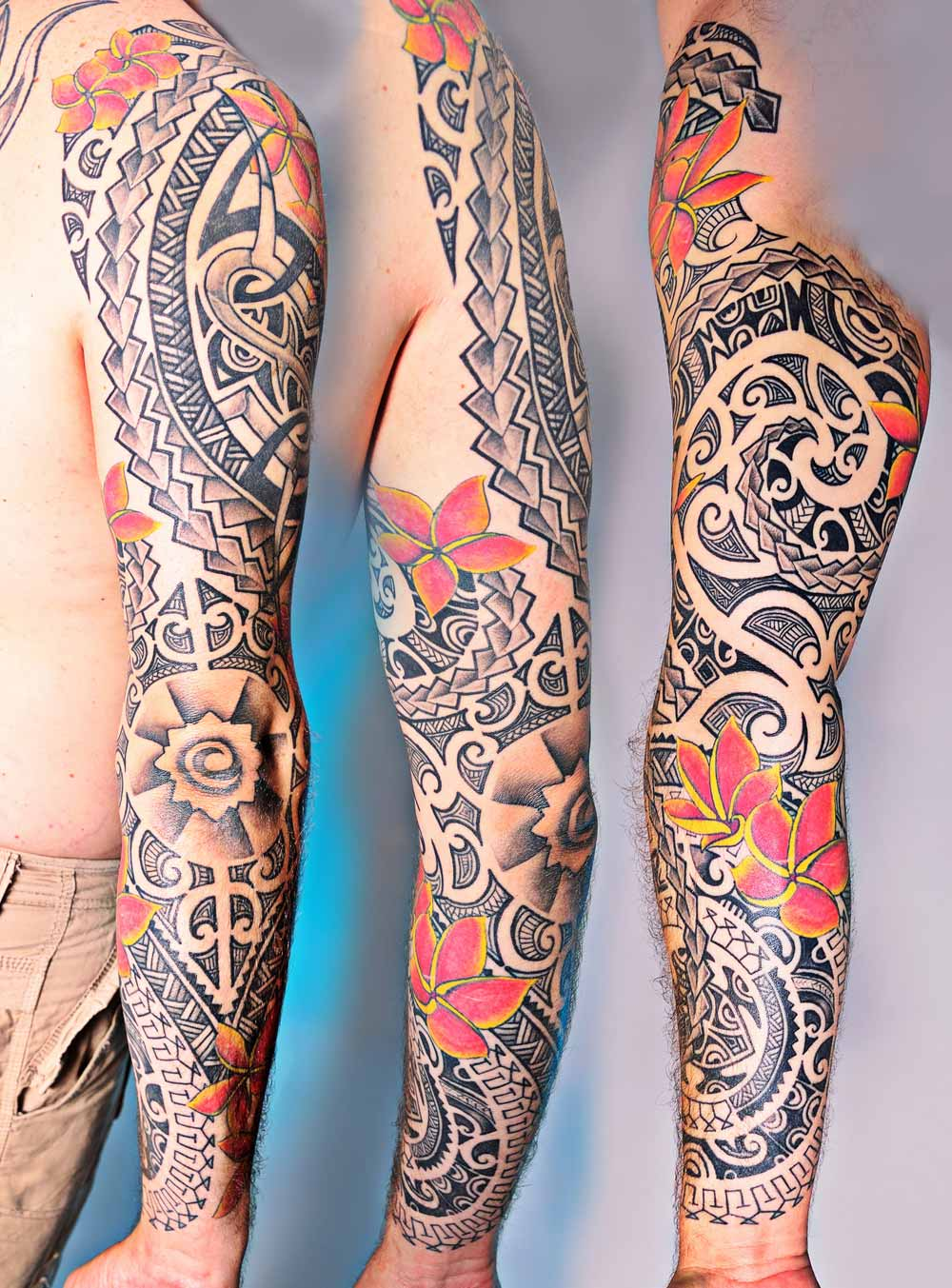 Maori-Style Sleeve And Chest Tribal Tattoo