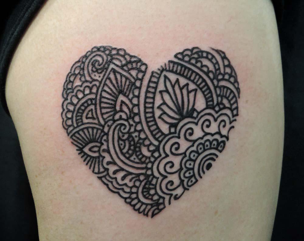 Tattoos by alex hennerley adorned tattoo for Heart henna tattoo