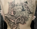 abstract geometric back tattoo by Alex