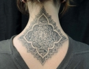geometric dotwork neck tattoo by Alex