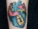 neotraditional heart tattoo by Alex